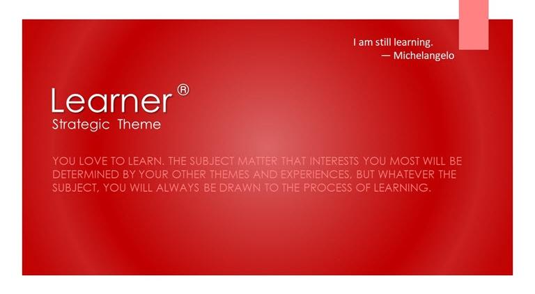 Learner Strategic Theme