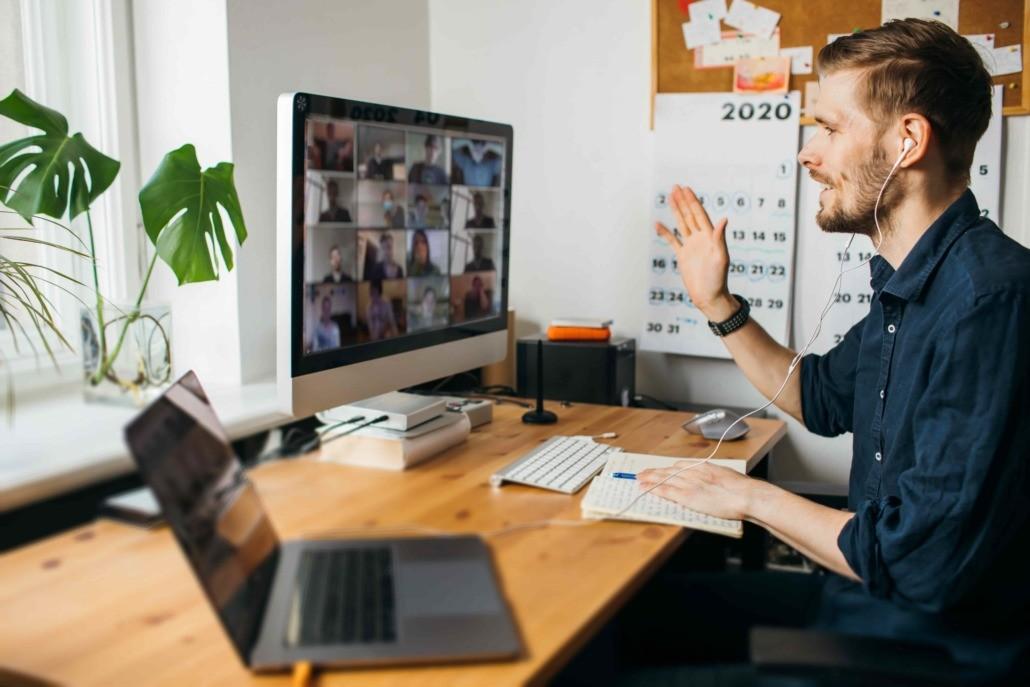 man on digital team meeting